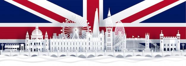 Флаг англии и знаменитые достопримечательности в вырезке из бумаги Premium векторы