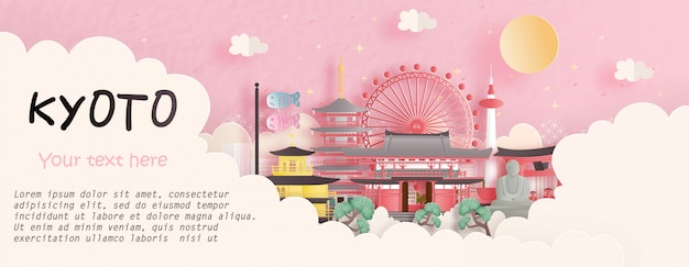 ピンクの背景で日本の有名なランドマーク、京都と旅行の概念。紙カットイラスト Premiumベクター
