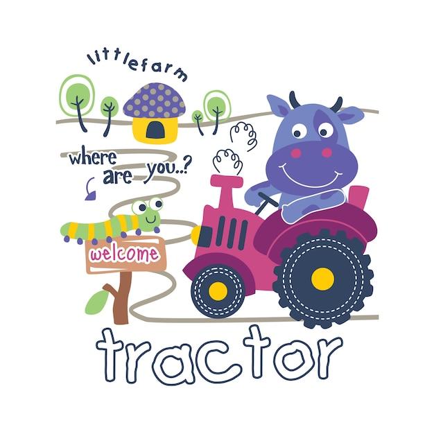 トラクターと牛おかしい動物漫画、ベクトル図 Premiumベクター