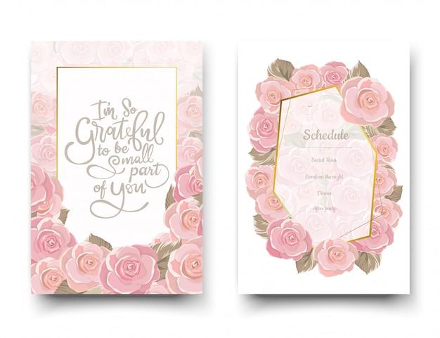 ピンクのバラの招待状。 Premiumベクター