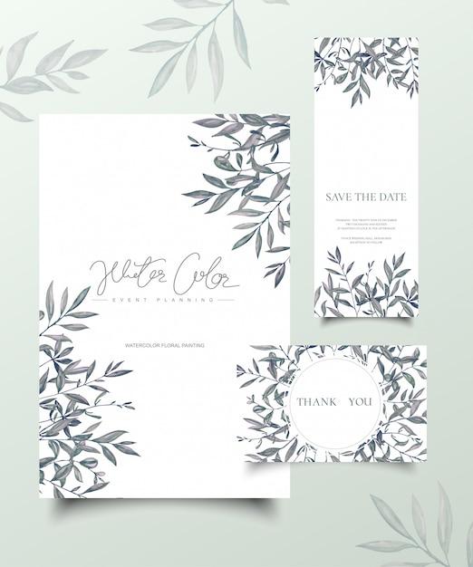 Акварельная ручная роспись листья, пригласительный билет. Premium векторы