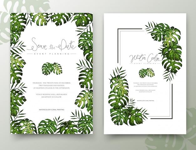 Пальмовые листья акварель ручной росписью кадр. Premium векторы