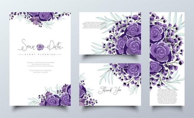 紫色の花の招待状カードテンプレートセット Premiumベクター