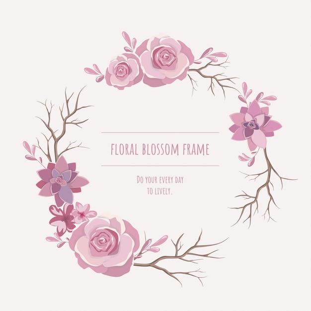 招待状とグラフィックのための花のフレーム。 Premiumベクター