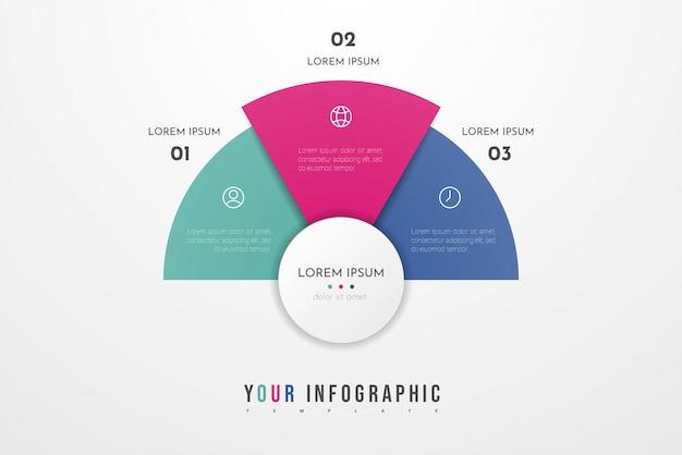 Абстрактный современный шаблон для создания инфографики с тремя вариантами. круговая диаграмма. может использоваться для разметки рабочего процесса, презентаций, отчетов, визуализаций, диаграмм, веб-дизайна, образования. Premium векторы