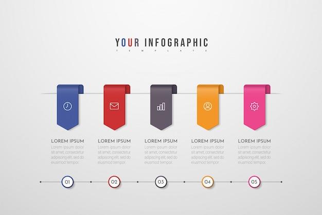 Инфографики дизайн с иконками и пять вариантов или шагов. может быть использован для презентации баннера, макета рабочего процесса, диаграммы процесса, блок-схемы. иллюстрации. Premium векторы
