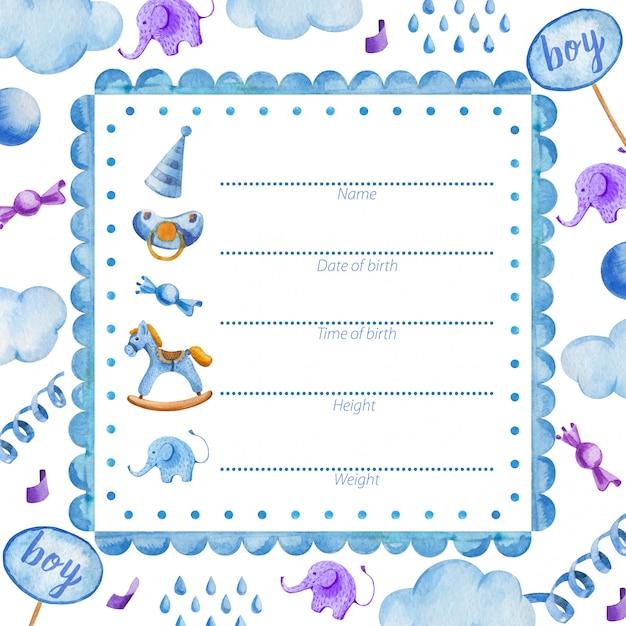 新生児の赤ちゃんのためのポスターテンプレートベビーシャワー Premiumベクター