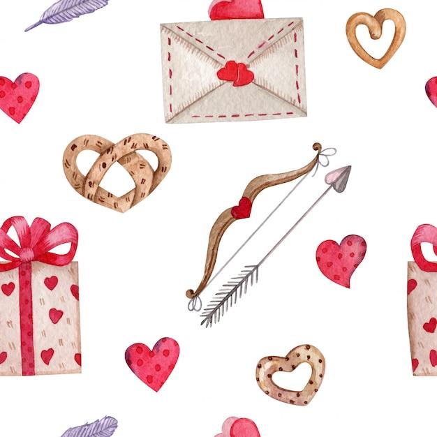 Бесшовные на день святого валентина Premium векторы