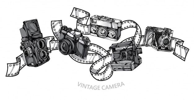 カメラビンテージセット手描き Premiumベクター