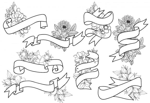 手描きヴィンテージ花柄要素。花、アイコン、装飾的な要素のセットです。 Premiumベクター