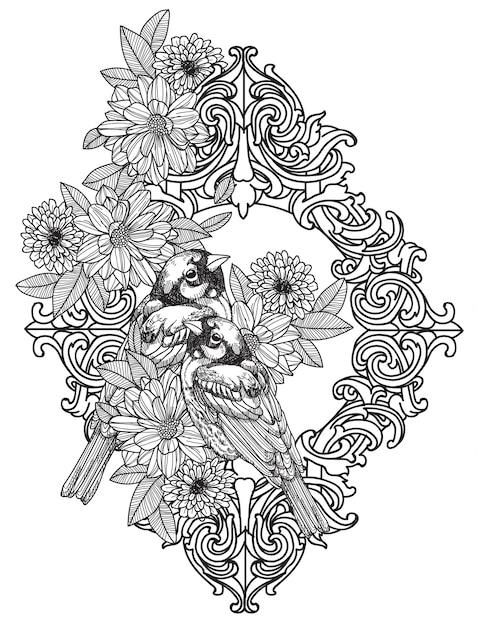 タトゥーアート鳥手描きとラインアートイラストと黒と白のスケッチ Premiumベクター
