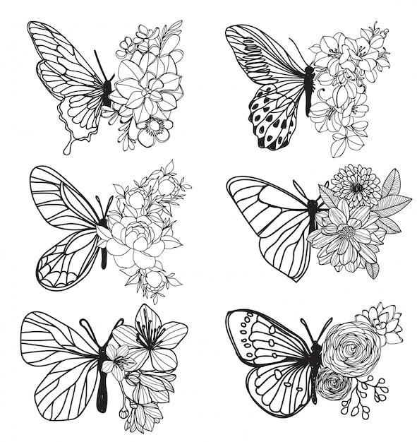 タトゥーアートバタフライ手描きとラインアートイラストスケッチ Premiumベクター