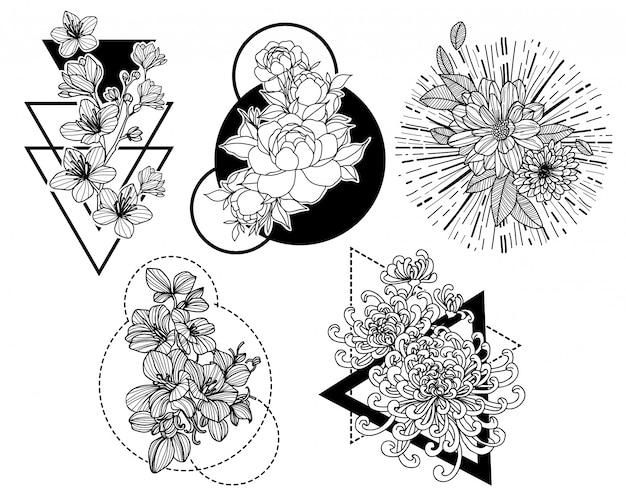 タトゥーアートの花の手描きとラインアートイラストと黒と白のスケッチ Premiumベクター