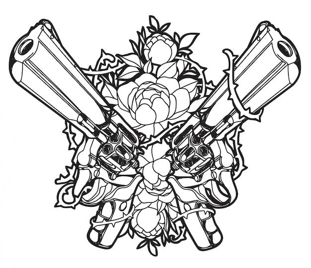 Тату арт оружие и цветок рука рисунок и эскиз Premium векторы