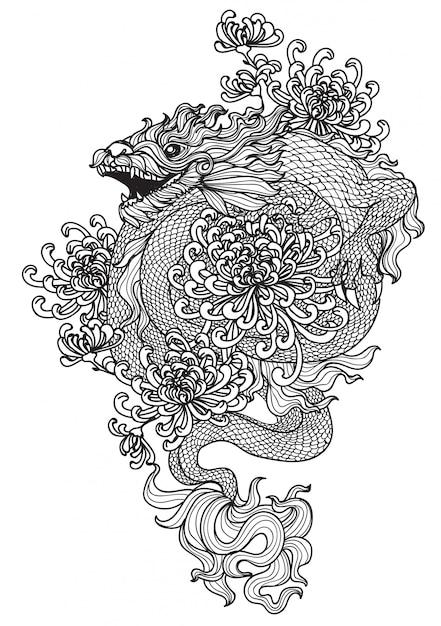 Татуировка дракон и цветок рука рисунок и эскиз с изолированной линии искусства иллюстрации Premium векторы