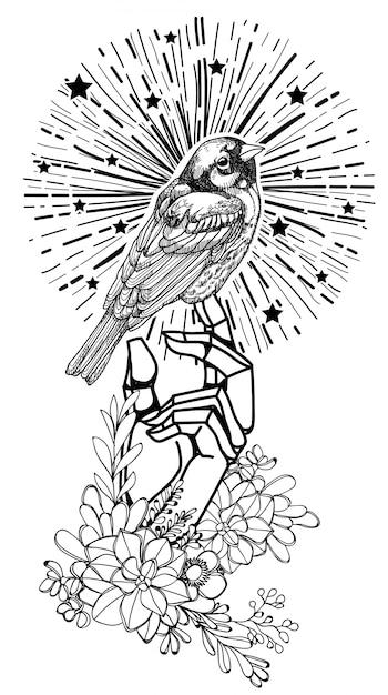 Чертеж и эскиз руки птицы искусства татуировки черно-белые с изолированной иллюстрацией искусства линии Premium векторы