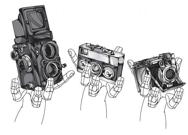 ビンテージカメラ手描きの白い背景で隔離。 Premiumベクター