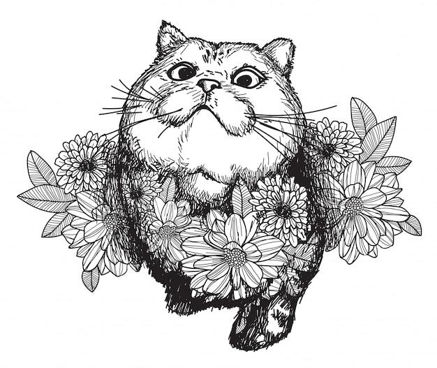 タトゥーアート猫と花の描画と白い背景で隔離のラインアートイラストとスケッチします。 Premiumベクター
