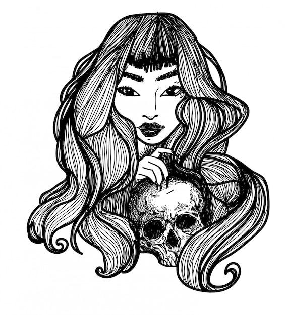 タトゥーアートの女性は頭蓋骨の手描きを保持し、黒と白のスケッチ Premiumベクター