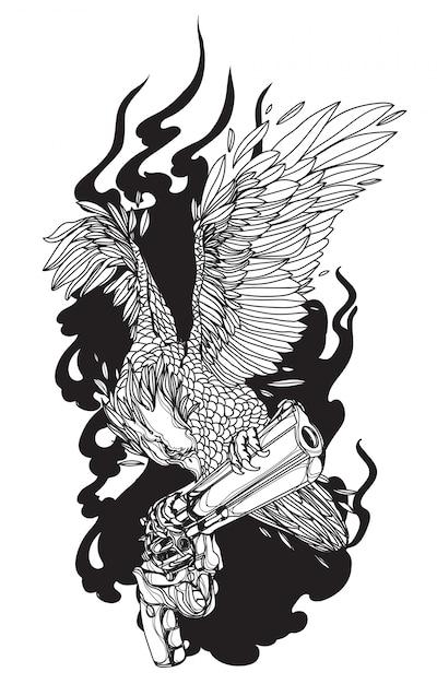 銃の手描きでタトゥーアートイーグル Premiumベクター