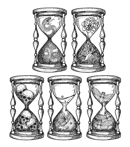 Тату-арт песочные часы, который содержит различные вещи ручной рисунок Premium векторы