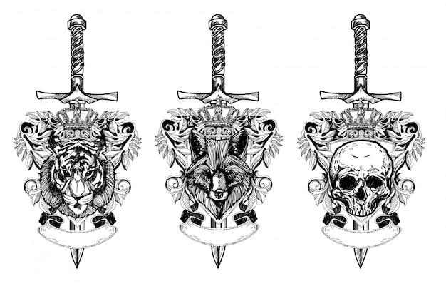 タトゥーアートタイガーオオカミの頭蓋骨の描画とラインアートイラストと白黒スケッチ Premiumベクター