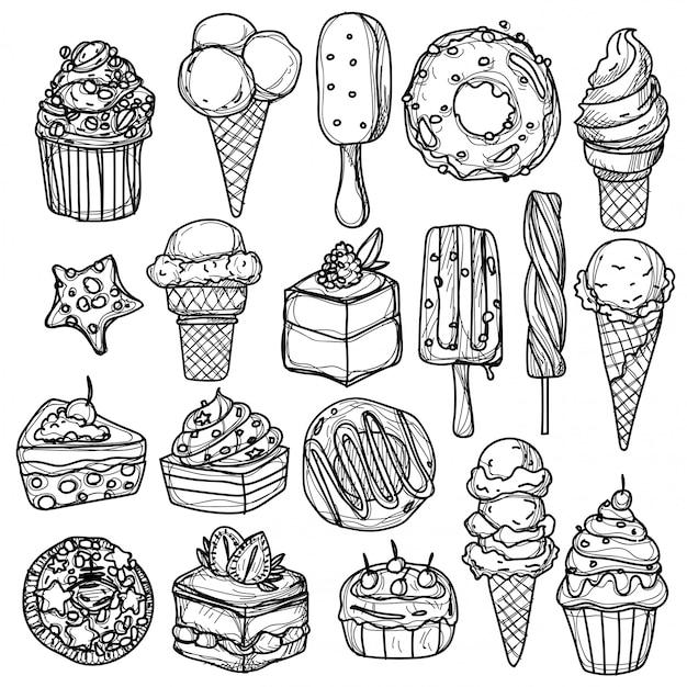 アイスクリームの手描きと黒と白のスケッチ Premiumベクター
