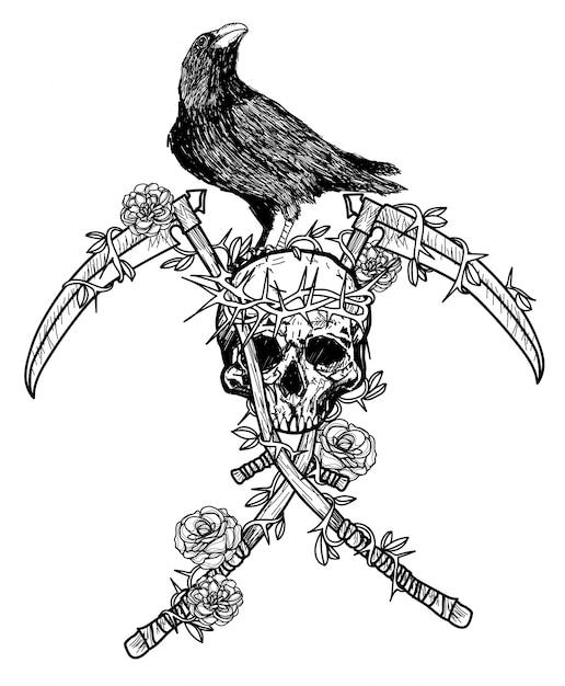 頭蓋骨に冠をかぶったタトゥーアートカラス Premiumベクター