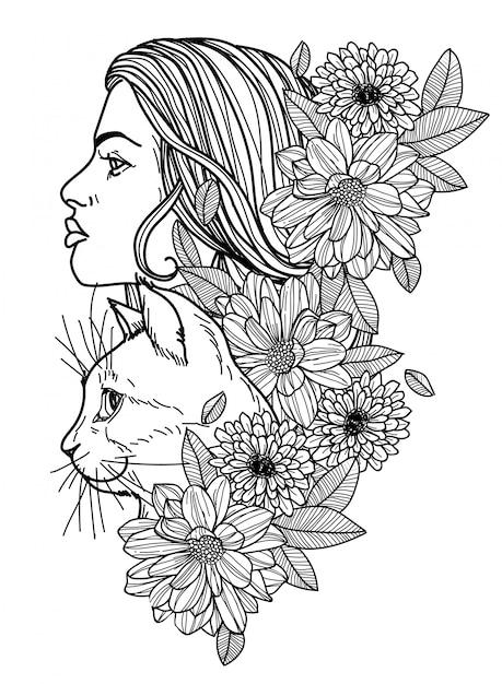 Татуировка женщины и кошка рука рисунок эскиз черно-белый Premium векторы