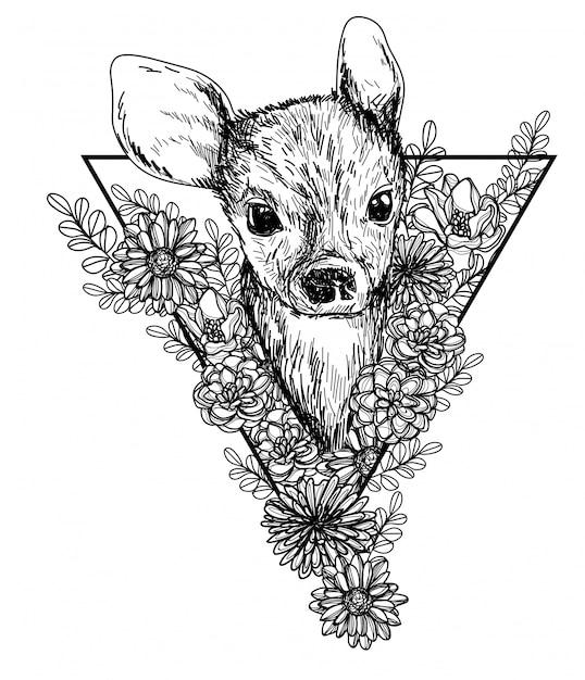 Олень и цветы эскиз монохромной головы черно-белые Premium векторы