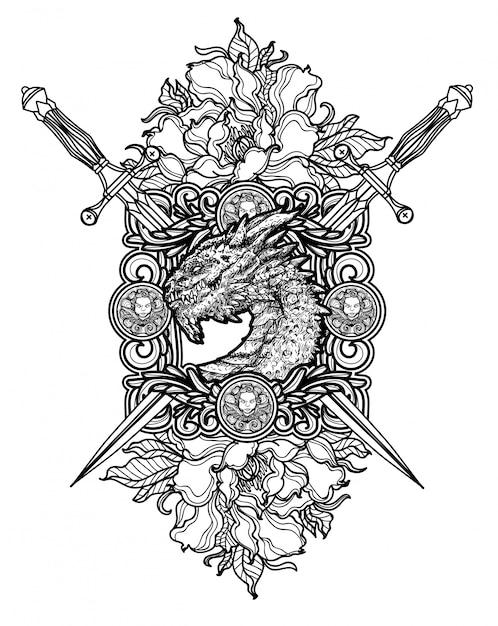 Тату арт даргон и меч рука рисунок черно-белый Premium векторы