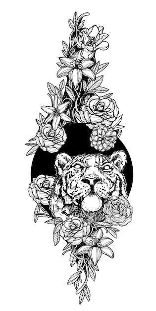 花の手描きの黒と白のタトゥーアートライオン Premiumベクター