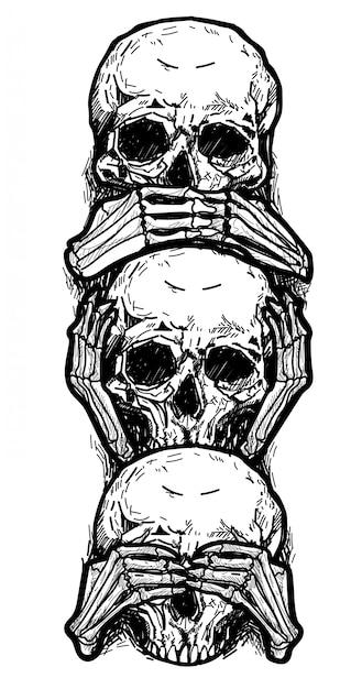 タトゥーアートスケッチスカル、耳を閉じ、目を閉じて、口を閉じて黒と白 Premiumベクター