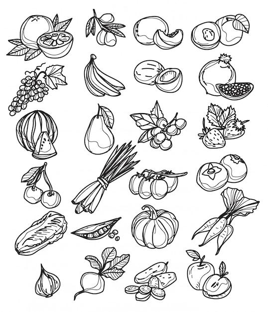 白で隔離される様々な手描き野菜スケッチのセット Premiumベクター