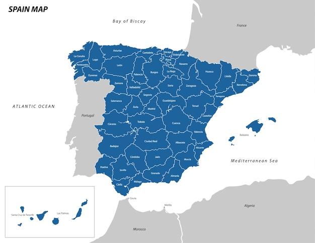 Иллюстрация карты испании Premium векторы