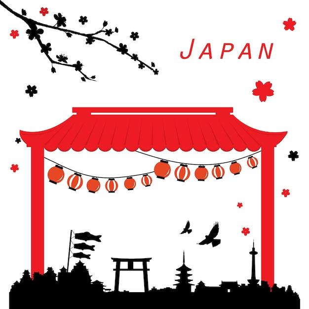 日本旅行の黒と赤のベクトルを表示 Premiumベクター