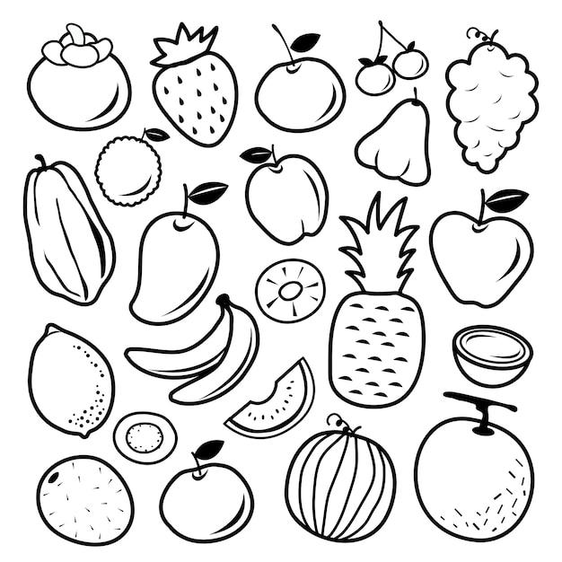 Векторные иконки фруктов Premium векторы