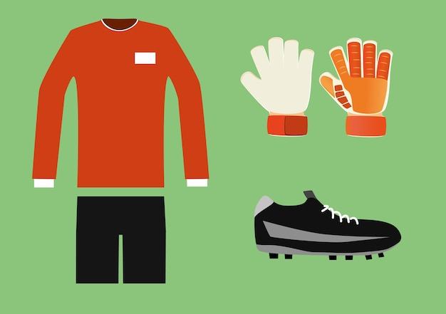 サッカーのゴールキーパーキット Premiumベクター