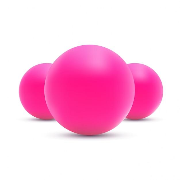 白地にピンクのボールイラスト Premiumベクター