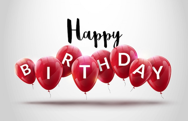 お誕生日おめでとう風船お祝い背景 Premiumベクター