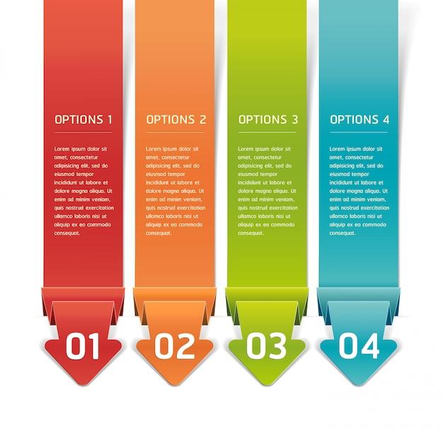 カラフルな折り紙スタイル番号オプションバナー&カード。 Premiumベクター