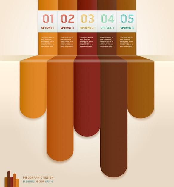 レトロカラーインフォグラフィック番号オプションバナー&カード Premiumベクター