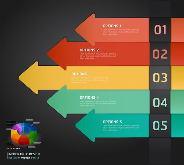 カラフルなインフォグラフィック番号オプションバナー&カード。 Premiumベクター