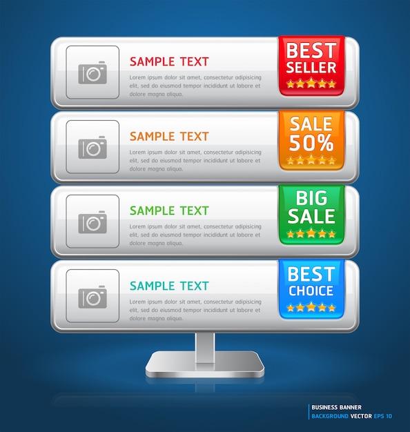 ビジネススタンドディスプレイバナー&カード Premiumベクター