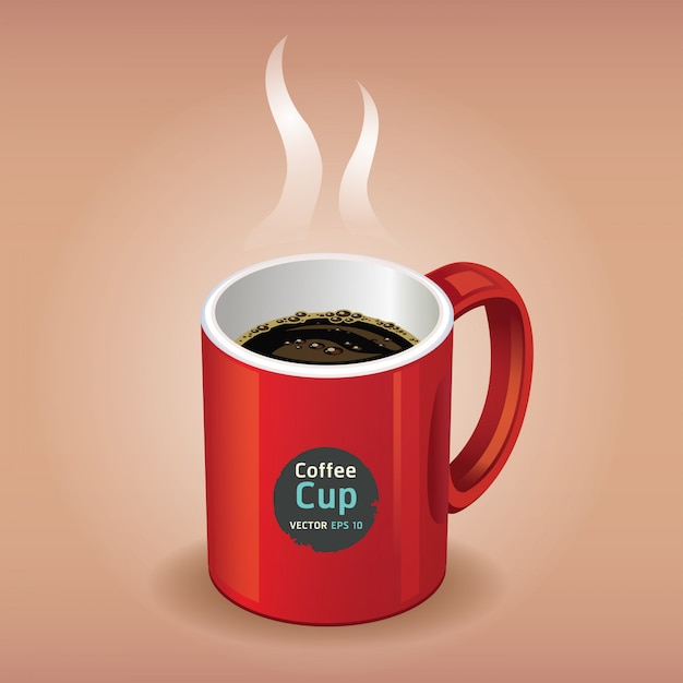 茶色の赤のコーヒーカップ Premiumベクター
