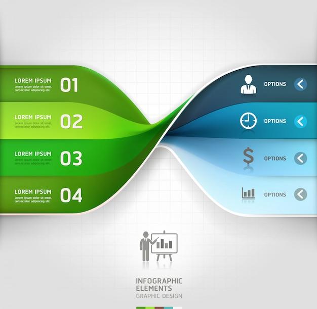 現代のビジネススパイラルインフォグラフィックオプションのバナー。 Premiumベクター