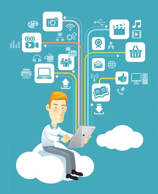 ソーシャルメディアでクラウド上に座っているタブレットを使用して実業家 Premiumベクター