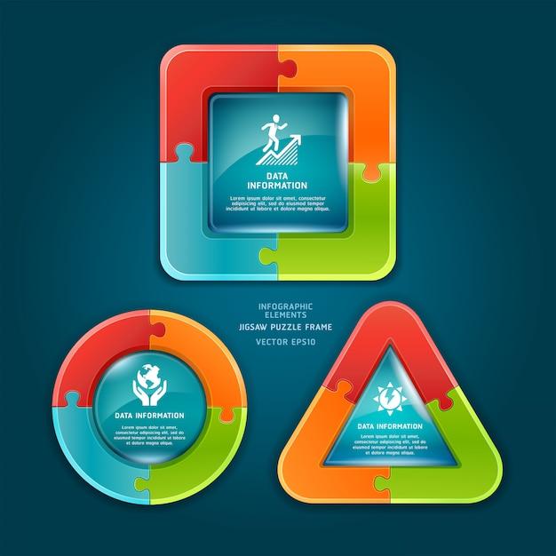 ワークフローのレイアウト、図、番号のオプション、インフォグラフィックのジグソーパズルフレーム。 Premiumベクター