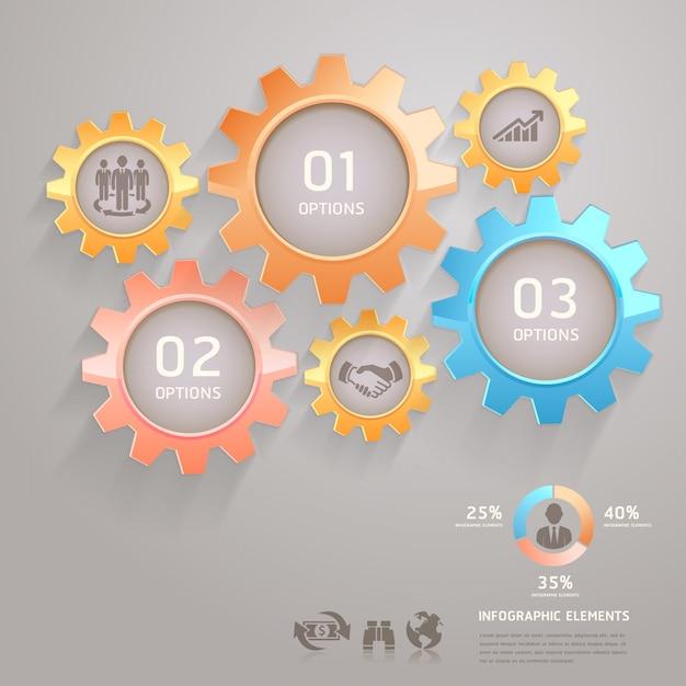 ビジネスチームギアインフォグラフィック番号オプション Premiumベクター