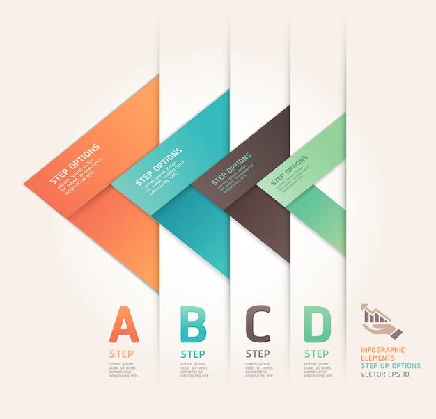Современный стиль стрелки оригами активизировать варианты. макет рабочего процесса, схема, параметры номера, веб-дизайн, инфографика. Premium векторы
